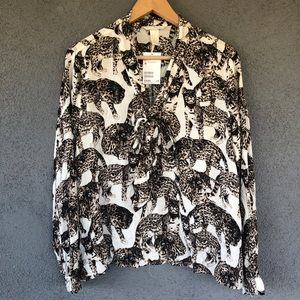 H&M Ocelot Cheetah Animal Print Bow Tie Blouse NWT